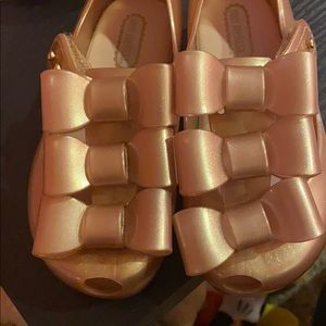 Beautiful rose gold mini Melissa toddler sandals